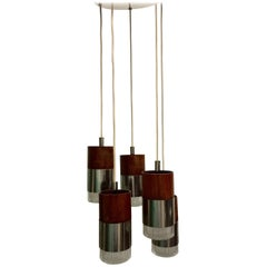 Chrome and Faceted Glass Five-Pendant Light Fixture