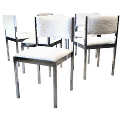 Chrome and Faux Sheepskin Dining Chairs by Daystrom
