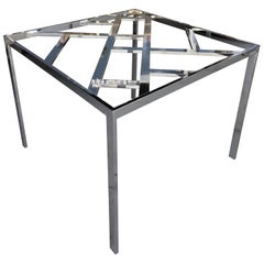 Chrome and Glass 1970s Game or Square Dining Table in the Style of Milo Baughman