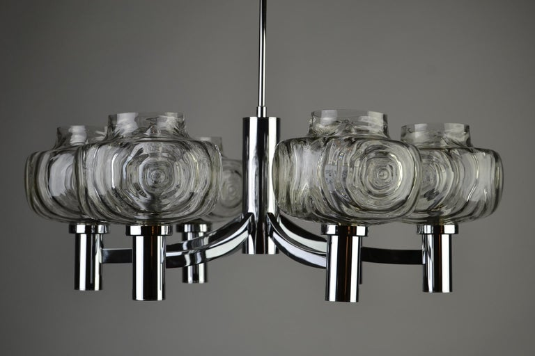 Chrome and Glass Chandelier, Italy, 1960s For Sale 4