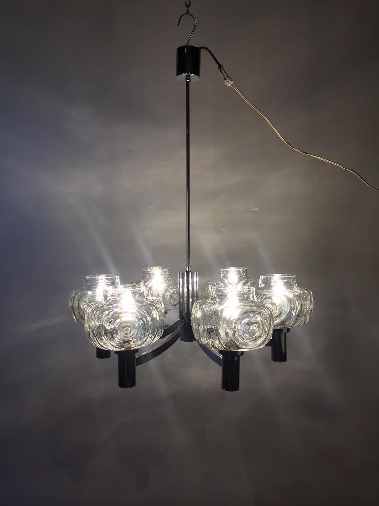 Chrome and Glass Chandelier, Italy, 1960s For Sale 10