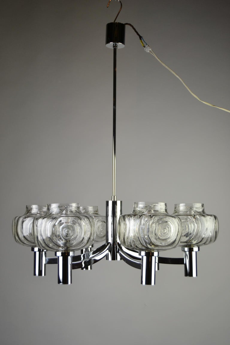 Chrome and Glass Chandelier, Italy, 1960s For Sale 11