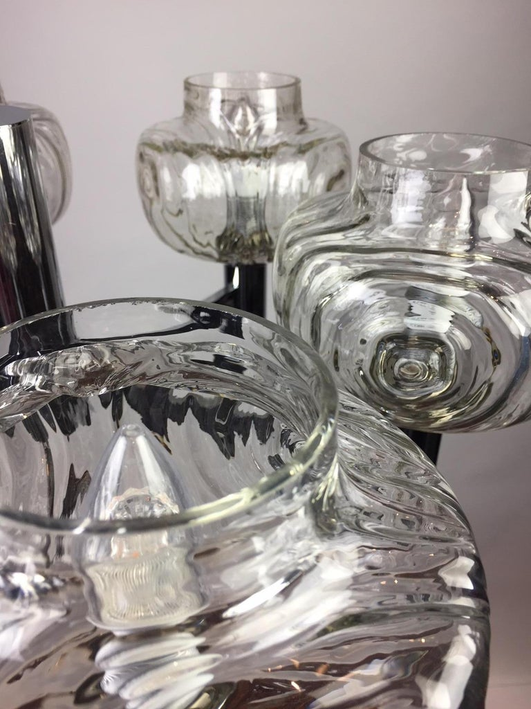 20th Century Chrome and Glass Chandelier, Italy, 1960s For Sale