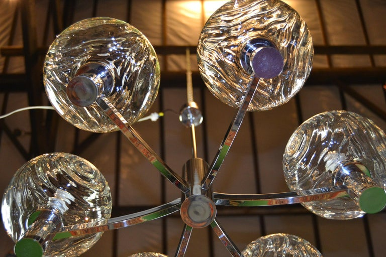 Art Glass Chrome and Glass Chandelier, Italy, 1960s For Sale