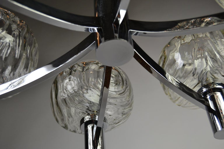 Chrome and Glass Chandelier, Italy, 1960s For Sale 2
