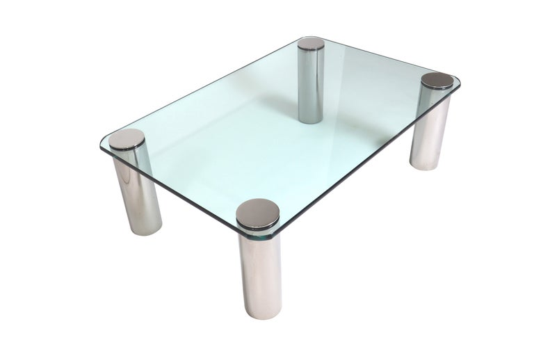 Chrome and glass cocktail table designed by Leon Rosen for Pace.