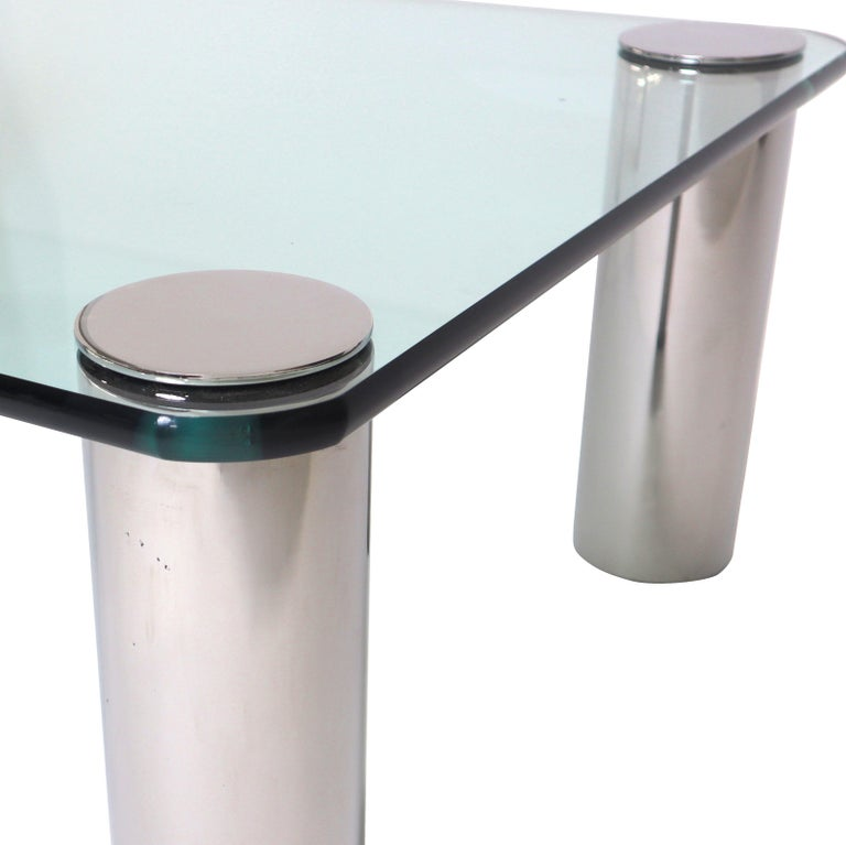 Mid-Century Modern Chrome and Glass Coffee Table, Leon Rosen for Pace For Sale