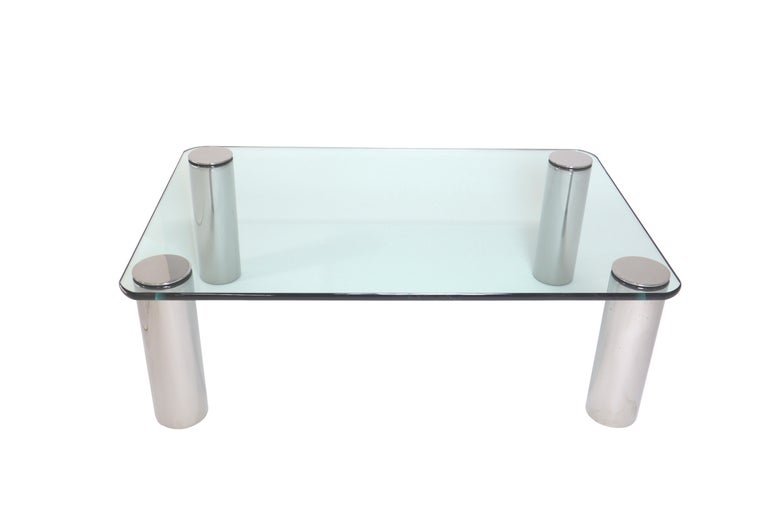 American Chrome and Glass Coffee Table, Leon Rosen for Pace For Sale