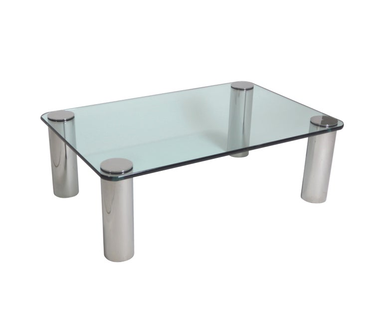 Chrome and Glass Coffee Table, Leon Rosen for Pace In Excellent Condition For Sale In Chicago, IL