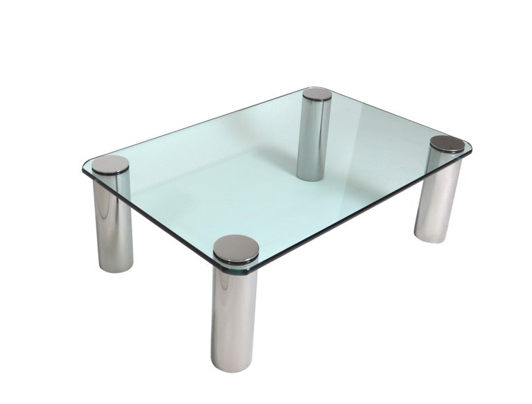 Late 20th Century Chrome and Glass Coffee Table, Leon Rosen for Pace For Sale