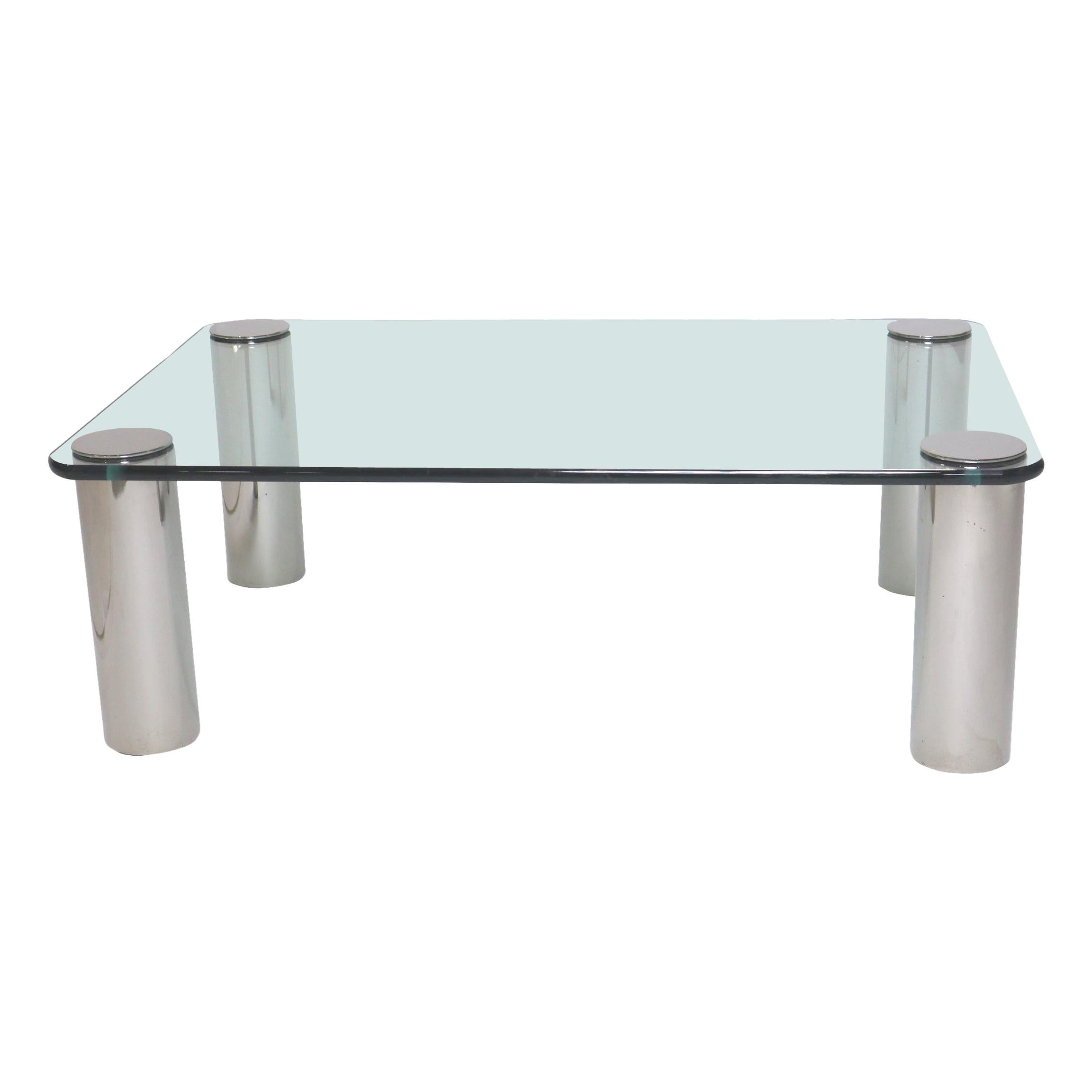Chrome and Glass Coffee Table, Leon Rosen for Pace