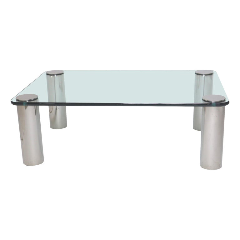 Chrome and Glass Coffee Table, Leon Rosen for Pace For Sale