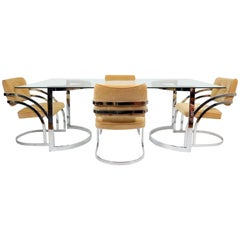 Chrome and Glass Dining Set by Milo Baughman