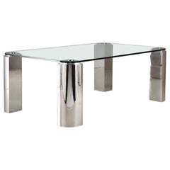 Chrome and Glass Dining Table, 1970s