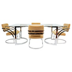 Chrome and Glass Dining Table and Chairs by Cal-Style