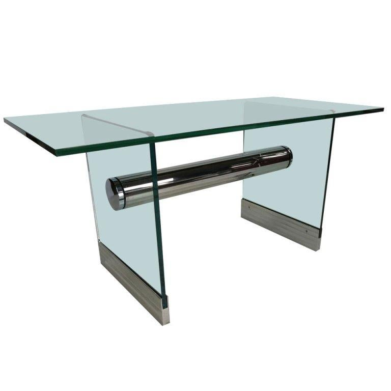 Chrome and Glass Dining Table / Writing Desk by Pace