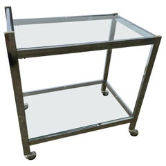 Chrome and Glass Drink Cart