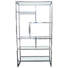 Chrome and Glass Large Design Institute America Étagère Shelving Wall Unit