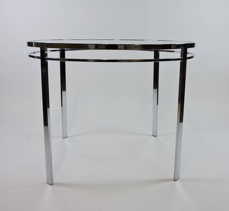 American Chrome And Glass Mid Century Modern Round Dining Table For