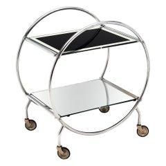 Chrome and Glass Midcentury Bar Cart