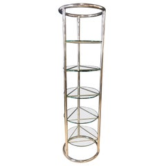 Chrome and Glass Modern Tubular Five Tier Étagère / Shelf