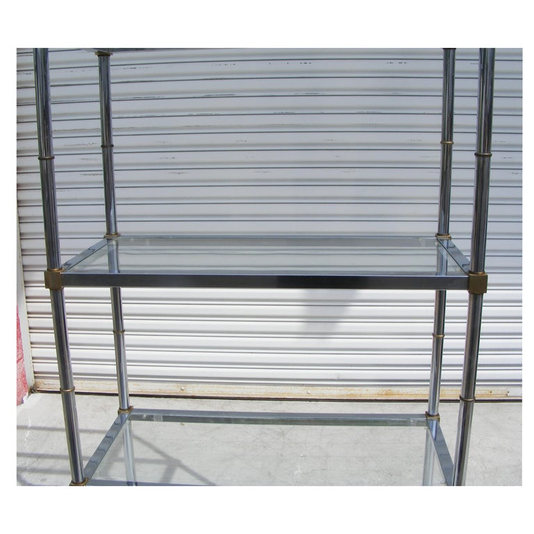 Chrome And Glass Modernist Etagere Shelf Unit In Good Condition For Sale In Pasadena, TX