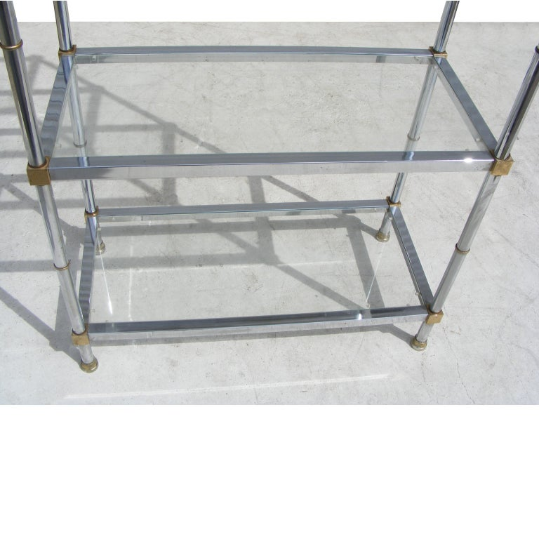 Chrome And Glass Modernist Etagere Shelf Unit For Sale 1