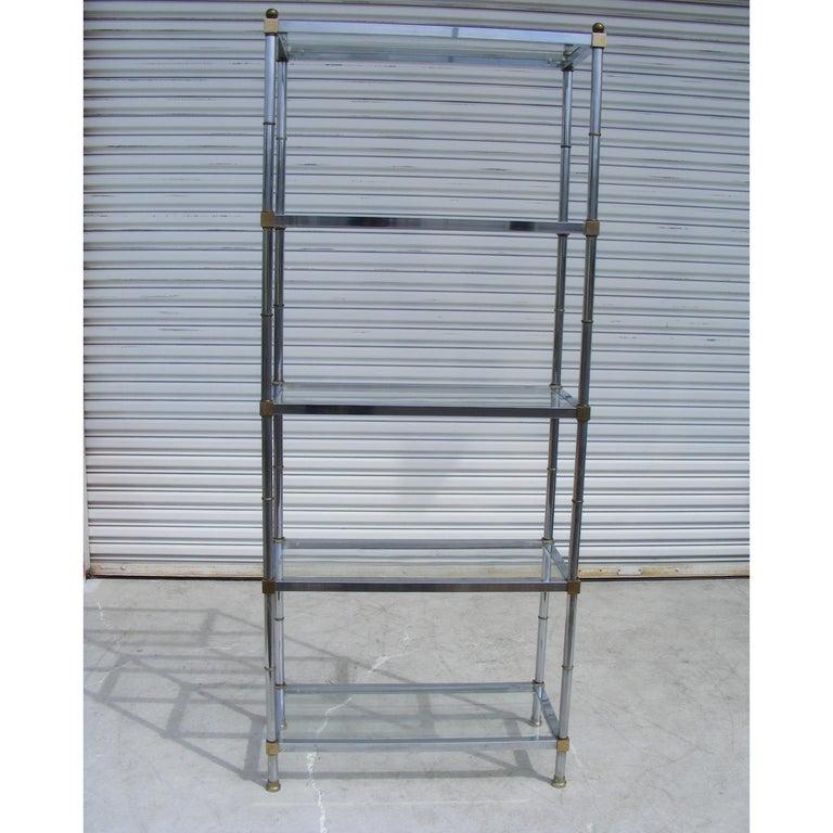 Chrome And Glass Modernist Etagere Shelf Unit For Sale 2