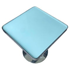 Chrome and Glass Modernist Side Table with Reversible Glass