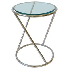 Modern Chrome and Glass Round Side or Drinks Table