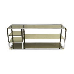 Chrome And Glass Sound System Display Shelving Etagere Unit Vintage Midcentury
