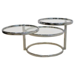 Chrome and Glass Three-Tier adjustable Side Table