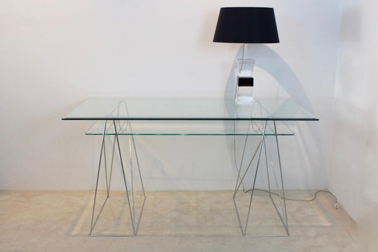 Chrome And Glass Trestle Leg Console Table Or Desk At 1stdibs
