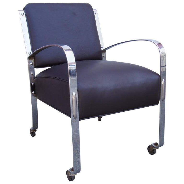 Chrome and Leather Armchair by McKay Furniture Company For Sale