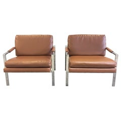 Chrome and Leather Armchairs Attributed to Milo Baughman, a Pair