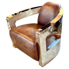 Chrome and Leather Club Chair