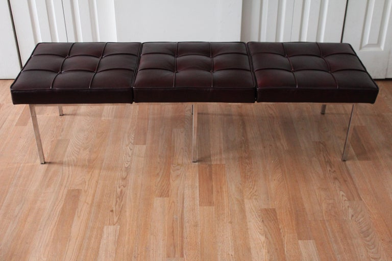Chrome and Leather Tufted Museum Bench For Sale 4
