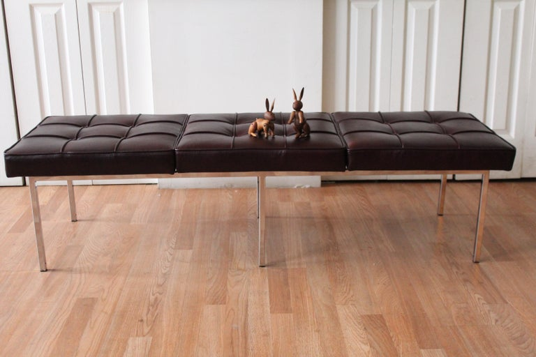 Late 20th Century Chrome and Leather Tufted Museum Bench For Sale
