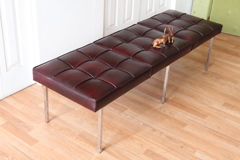 Chrome and Leather Tufted Museum Bench For Sale 2