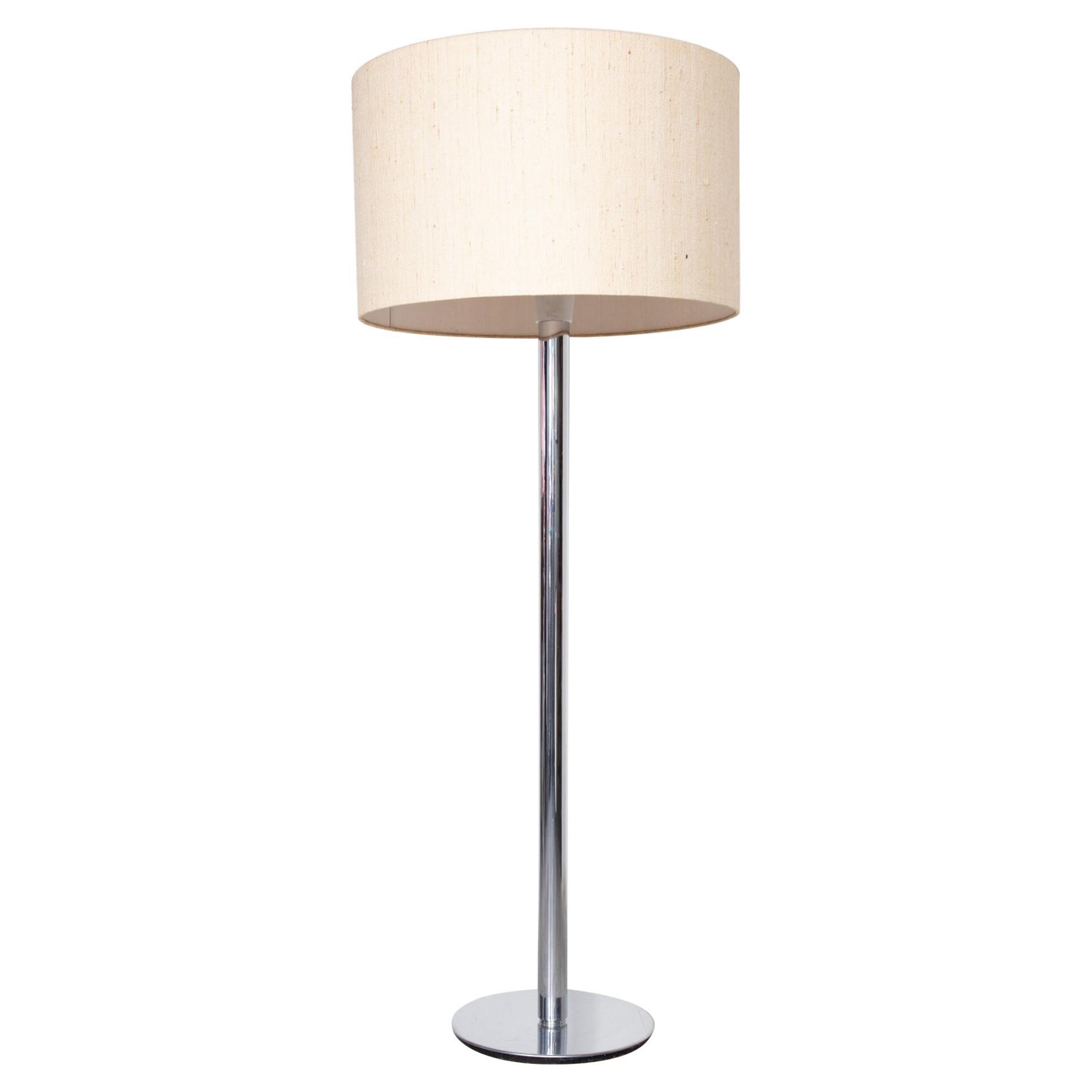 Chrome and Linen Floor Lamp Staff Leuchten, Germany