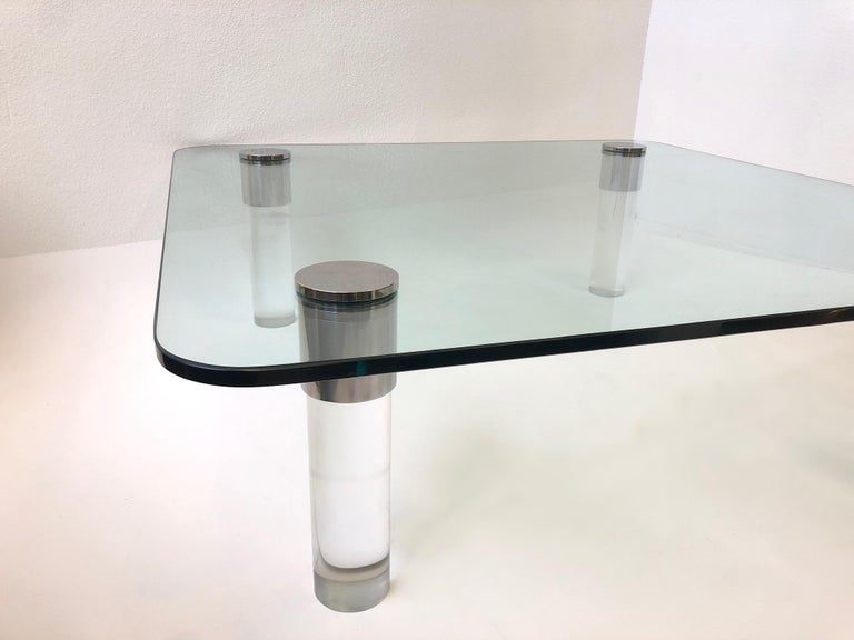 Modern Chrome and Lucite Cocktail Table by Pace Collection For Sale