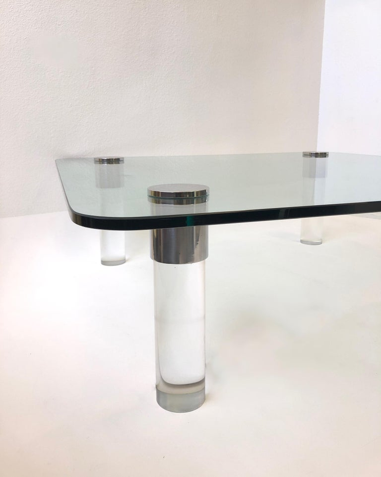 American Chrome and Lucite Cocktail Table by Pace Collection For Sale