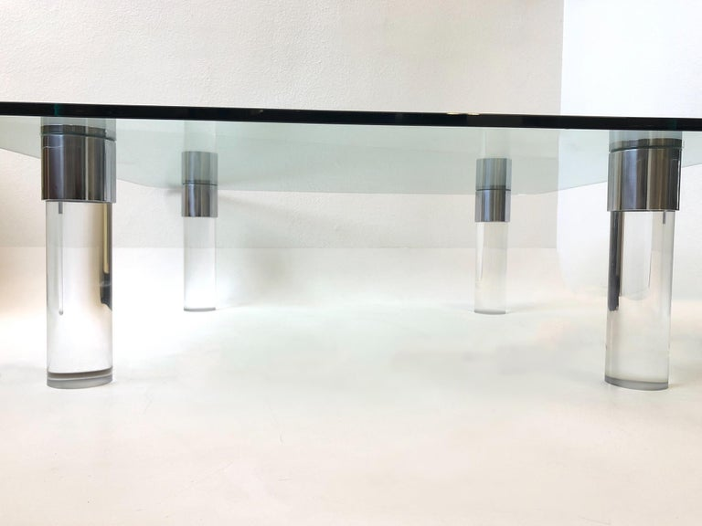 Polished Chrome and Lucite Cocktail Table by Pace Collection For Sale