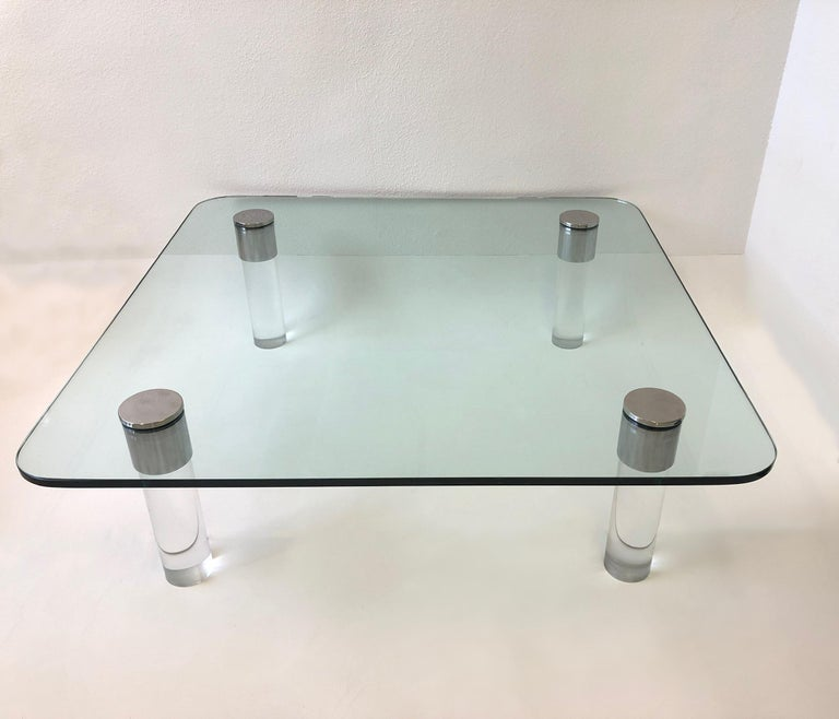 Chrome and Lucite Cocktail Table by Pace Collection In Good Condition For Sale In Palm Springs, CA