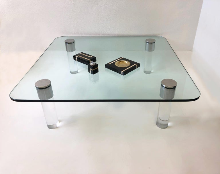Late 20th Century Chrome and Lucite Cocktail Table by Pace Collection For Sale