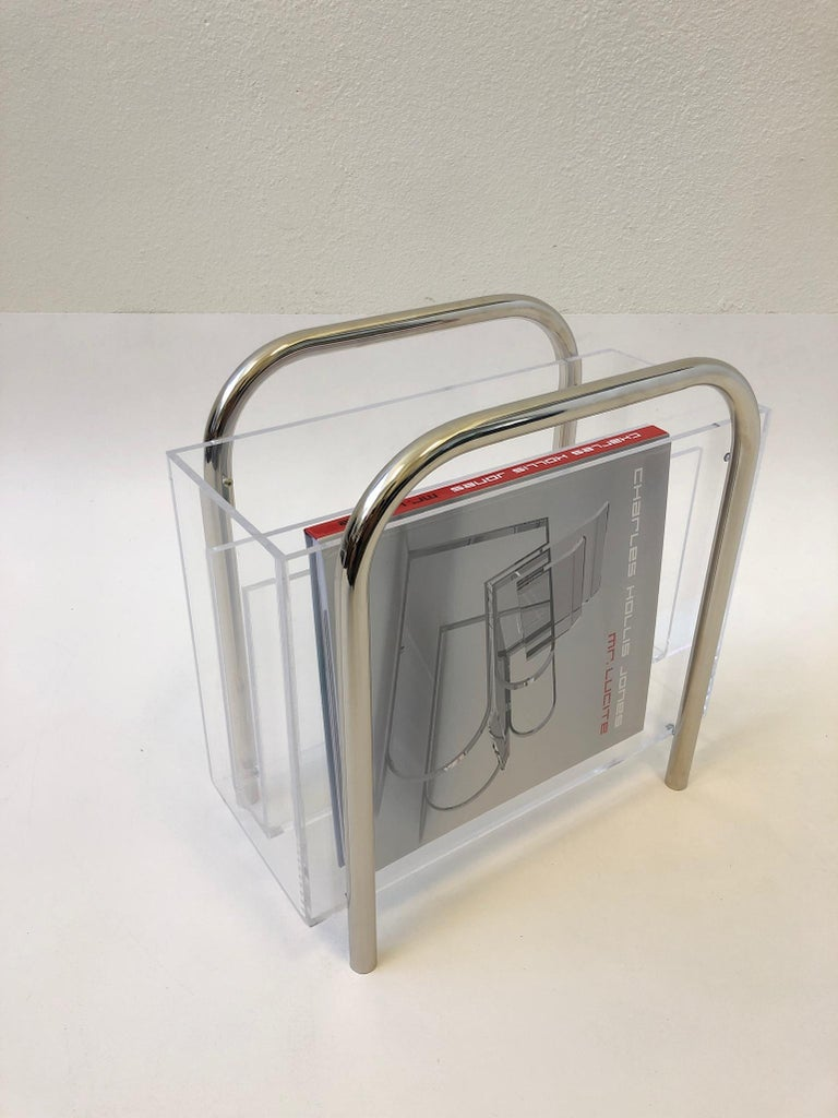 Chrome and Lucite Magazine Holder by Charles Hollis Jones For Sale 3