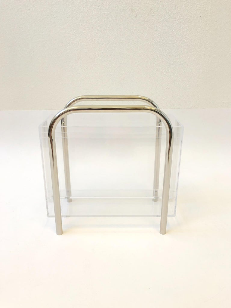 Modern Chrome and Lucite Magazine Holder by Charles Hollis Jones For Sale