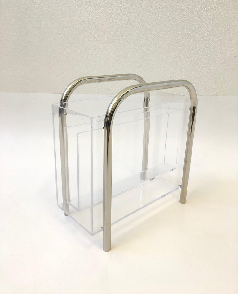 American Chrome and Lucite Magazine Holder by Charles Hollis Jones For Sale