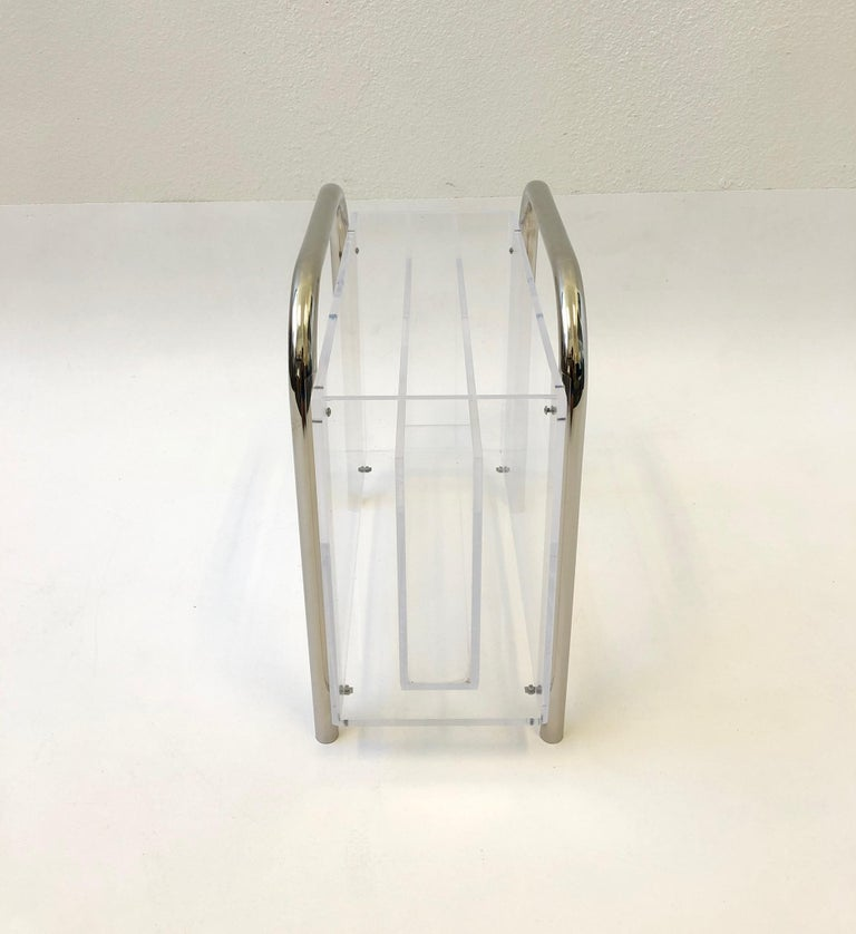 Chrome and Lucite Magazine Holder by Charles Hollis Jones In Good Condition For Sale In Palm Springs, CA