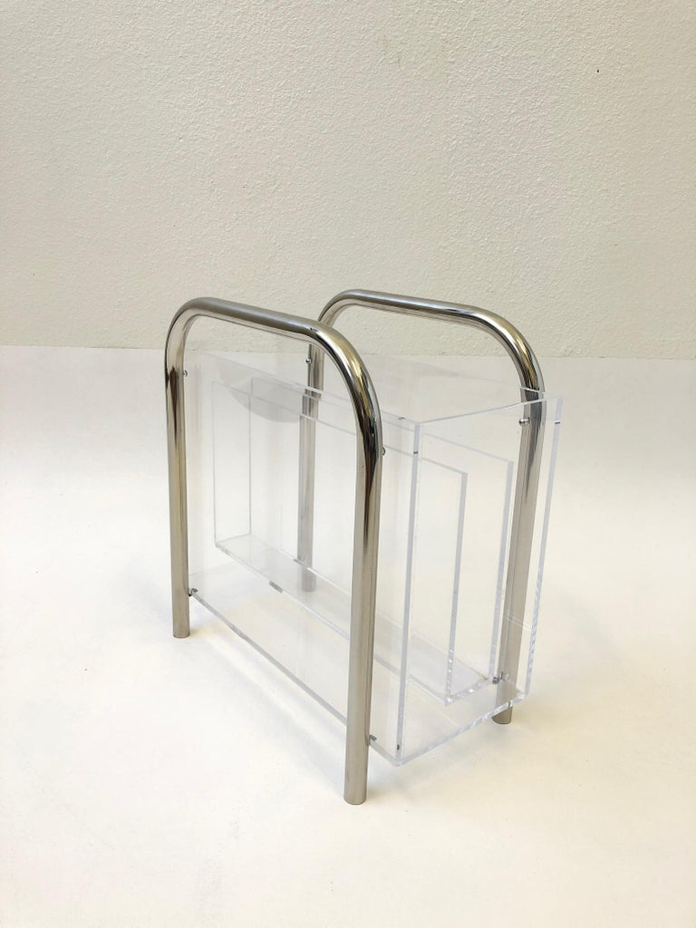 Late 20th Century Chrome and Lucite Magazine Holder by Charles Hollis Jones For Sale